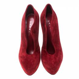 Casadei Red Suede Platform Slip On Ankle Booties Size 37 157992