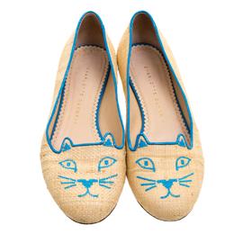 Charlotte Olympia Beige and Blue Raffia Kitty Flats Size 37 120695