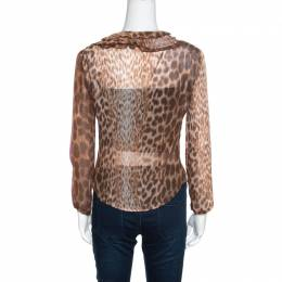 Just Cavalli Leopard Printed Sheer Criss Cross Tie Up Detail Ruffled Blouse M 158064