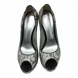 Casadei Black Lace Peep Toe Platform Pumps Size 39 176746