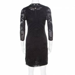Roberto Cavalli Black Perforated Knit Long Sleeve Bodycon Dress S 185554