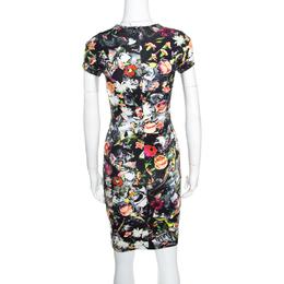 McQ by Alexander McQueen Black Floral Printed Knit Bodycon Dress XXS 159939