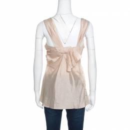 Dior Boutique Beige Draped Silk Sleeveless Top S 155480