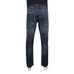Just Cavalli Indigo Dark Wash Faded Effect Distressed Denim Jeans XXL 145801
