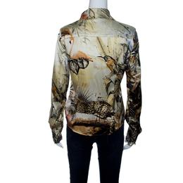 Roberto Cavalli Class Floral Printed Stretch Silk Satin Button Front Shirt M 142655