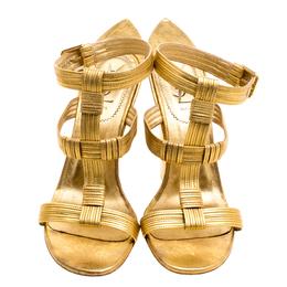 Saint Laurent Paris Metallic Gold Leather Venice Sculpted Wedge Sandals Size 40 118361