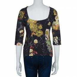 Just Cavalli Floral Print Jersey Off Shoulder Top M 60878