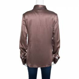 Just Cavalli Brown Silk Satin Animal Printed Trim Long Sleeve Shirt M 165925