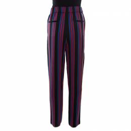 Diane Von Furstenberg Multicolor Striped Twill Elasticized Waist Soft Trousers M 174191