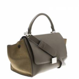 Celine Taupe Two Tone Leather and Suede Small Trapeze Tote 102718