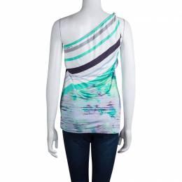Roberto Cavalli Class Multicolor Printed Knit One Shoulder Top M 79803