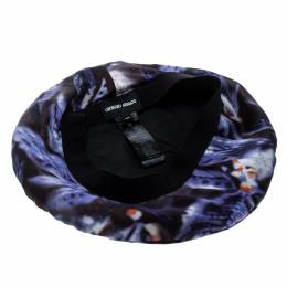 Giorgio Armani Multicolor Abstract Leaf Print Silk Satin Beret M 167252