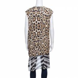 Just Cavalli Floral and Animal Printed Jersey High Low Sleeveless Tunic S 141162