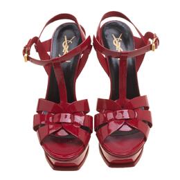 Saint Laurent Paris Red Patent Leather Tribute Platform Sandals Size 39 140012