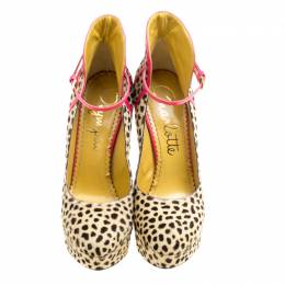 Charlotte Olympia Leopard Pony Hair Lucille Ankle Strap Platform Pumps Size 35 167966