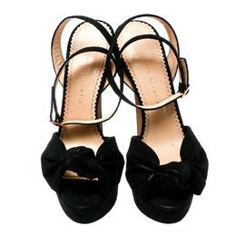 Charlotte Olympia Black Suede Vreeland Ankle Strap Platform Sandals Size 40 179929