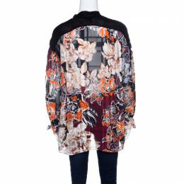 Just Cavalli Multicolor Floral Printed Neck Tie Detail Oversized Top S 143550