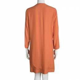 Diane Von Furstenberg Orange Long Sleeve Kea Dress L 95414