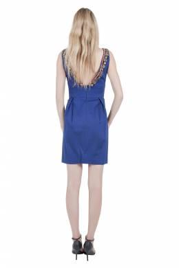 Lela Rose Cobalt Blue Embellished Cut Out Detail Plunge Neck Bodycon Dress XS 212447
