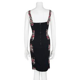 Dolce&Gabbana Black Floral Print Sleeveless Bodycon Dress XS 103412