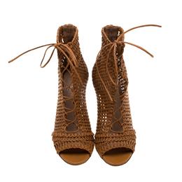 Gianvito Rossi Brown Macrame Leather Peep Toe Booties Size 36 183797