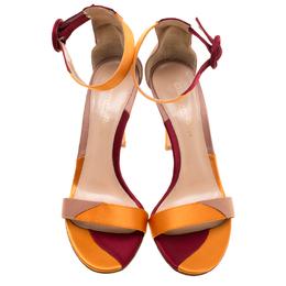 Gianvito Rossi Multicolor Patchwork Satin Ankle Strap Open Toe Sandals Size 37 183851
