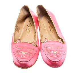 Charlotte Olympia Pink Satin Cat Nap Slipper Set L 186911