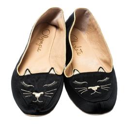 Charlotte Olympia Black Satin Cat Nap Slipper Set L 186909