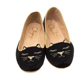 Charlotte Olympia Black Satin Cat Nap Slipper Set S 200385