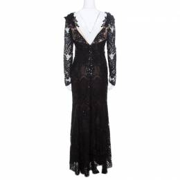 Marchesa Notte Black Sequined Embroidered Floral Lace Gown S 170355