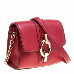 Diane Von Furstenberg Red Leather Micro Mini Sutra Shoulder Bag 149402