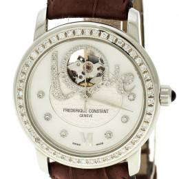 Frederique Constant White Mother of Pearl Stainless Steel Heart Beat Women's Wristwatch 35 mm 131057