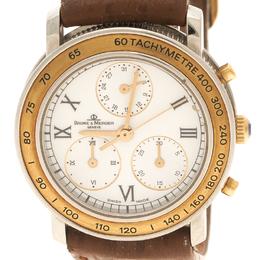 Baume&Mercier White Stainless Steel Leather Women's Wristwatch 28MM 112708