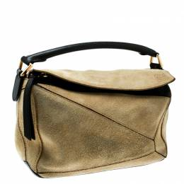Loewe Beige Suede and Leather Puzzle Shoulder Bag 181073