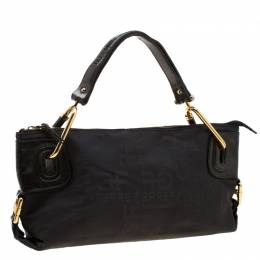 Gianfranco Ferre Black Nylon and Leather Buckle Shoulder Bag 208708