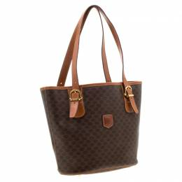 Celine Brown Macadam Coated Canvas and Leather Tote 210375