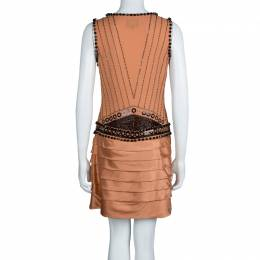 Just Cavalli Orange Silk Embellished Pleat Detail Sleeveless Dress M 70238