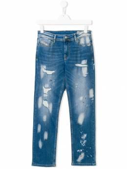 Diesel Kids - джинсы узкого кроя с прорванными деталями 3S8KXA06906969830000