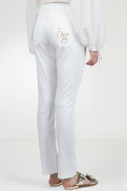 Белые джинсы с золотистым логотипом Blugirl 1916144402
