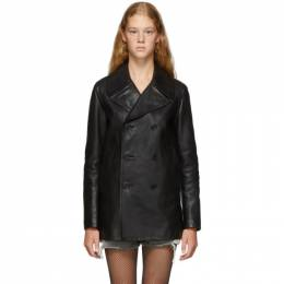 Saint Laurent Black Leather Double-Breasted Caban Jacket 192418F06400102GB