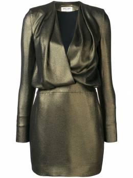 Saint Laurent - платье мини с глубоким декольте 936Y599T933893560000