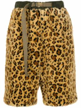 Sacai леопардовые шорты из искусственного меха 1902055M