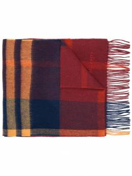 Mulberry клетчатый шарф с бахромой VS4319007L664