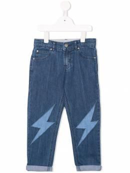 Stella McCartney Kids - джинсы с нашивками в форме молний 666SLK89936306650000