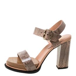 Tod's Beige Python Leather Ankle Strap Platform Sandals Size 38 Tod's