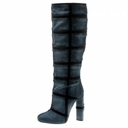 Tom Ford Denim And Leather Trim Patchwork Knee Length Boots Size 40.5 212809