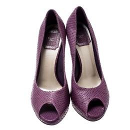 Dior Purple Python Embossed Leather Miss Dior Peep Toe Platform Pumps Size 37.5 212616