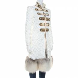 Ermanno Scervino White Embellished Quilted Fox Fur Hem Coat S 215499