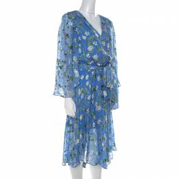 Alice + Olivia Cerulean Blue Floral Satin Devoré Belted Halsey Dress M 213387