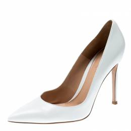 Gianvito Rossi White Leather Pointed Toe Pumps Size 37.5 213002